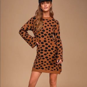 Lulus Aspire to Inspire Polka Dot Sweater Dress